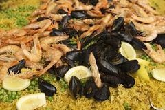 Nahaufnahme von Meeresfrüchtepaella Stockbild