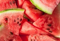 Nahaufnahme von neuen Scheiben der roten Wassermelone Lizenzfreies Stockbild