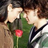 Nahaufnahme von Paaren in der Liebe mit Rotrose lizenzfreie stockfotos