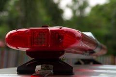 Nahaufnahme von Polizeilichtstrahlen Stockfotografie