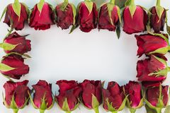 Nahaufnahme von roten Rosen auf einem hölzernen Hintergrund mit leerem Mitteilungs-Zeichen für Ihren Text oder Mitteilung Lizenzfreie Stockbilder