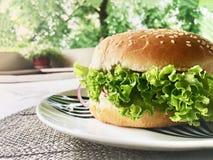 Nahaufnahme von selbst gemachten geschmackvollen Burgern auf Holztisch- und Ausgangsterrasse backgroung lizenzfreie stockfotos