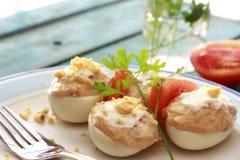 Nahaufnahme von Spanisch deviled Eiern Stockfoto