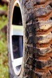 Nahaufnahme von SUV-Reifen Stockbild