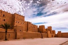 Nahaufnahme von Taourirt Kasbah in Ouarzazate, Marokko Stockbilder