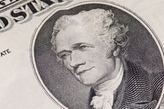 Nahaufnahme von US 10 Dollar-Anmerkung Lizenzfreie Stockfotos
