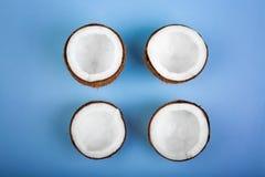 Nahaufnahme von vier schnitt tropische Kokosnüsse auf einem hellblauen Hintergrund Köstliche Sommerfrüchte Nahrhafte exotische Nü stockfotos