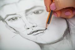 Nahaufnahme von Zeichnungsmann ` s Porträt am Schreibtisch Lizenzfreies Stockfoto