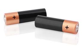 Nahaufnahme von zwei AA-Batterien Stockbild