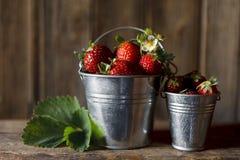 Nahaufnahme wenigen Eimers mit den frischen und saftigen Erdbeeren auf hölzernem Hintergrund der Weinlese Stockbilder