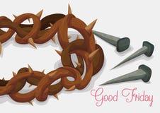 Nahaufnahme zu Dornenkrone und Rusty Nails für Karfreitag, Vektor-Illustration Stockbild