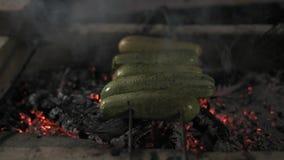 Nahaufnahme, Zucchini-Kürbis auf den Aufsteckspindeln gebacken auf Kohle in Mangal stock footage