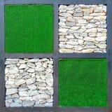 Nahaufnahme zum Quadrat des grünen Grases und des Gray Stone Backgrounds Stockfotografie