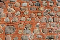 Nahaufnahmeansicht der alten Wand des mittelalterlichen Schlosses Stockfoto