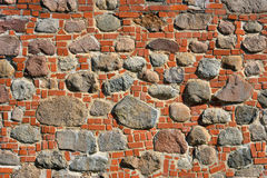 Nahaufnahmeansicht der alten Wand des mittelalterlichen Schlosses Stockbild