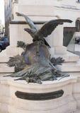 Nahaufnahmeansicht des Details auf der Rückseite der Statue von Sigismondo Castromediano in Lecce, Italien Lizenzfreies Stockfoto