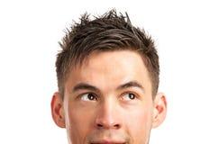 Nahaufnahmeansicht des Gesichtes des jungen Mannes stockfotografie