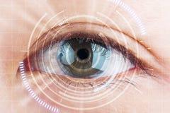 Nahaufnahmeauge der zukünftige Kataraktschutz, Scan, Kontaktlinse Lizenzfreies Stockfoto