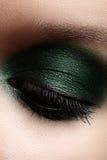 Nahaufnahmeauge mit grauem und dunkelgrünem Make-up u. Silberfunkeln Stockfotografie
