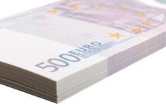 Nahaufnahmebündel Bezeichnungen von 500 Euros Stockfoto