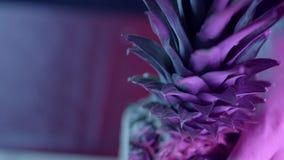 Nahaufnahmebeschaffenheit der reifen Ananas auf dunklem Hintergrund t?tigkeit Schöne Details von Ananas wird durch Neon belichtet stock video footage