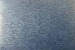 Nahaufnahmebeschaffenheit des blauen Lederimitats Stockfoto