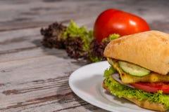 Nahaufnahmebild des vegetarischen Sandwiches mit Tofu Lizenzfreies Stockfoto