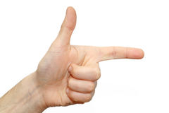 Nahaufnahmedaumenshowrichtungs-Fingerzeichen Lizenzfreies Stockbild