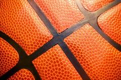 Nahaufnahmedetail des Basketballball-Beschaffenheitshintergrundes Lizenzfreie Stockbilder