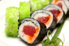 Nahaufnahmedetail von nigiri Sushi Stockfotos