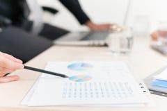 Nahaufnahmediagramm und -diagramme auf Tabelle während des Geschäftstreffens Stockfotografie