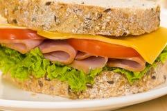 Nahaufnahmeeintragfaden eines Sandwiches mit reichem Salat Stockbilder