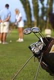 Nahaufnahmefoto der Golf spielenden Berufsausrüstung Stockbilder