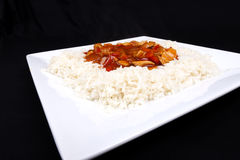 Süßes und saures Huhn mit Reis. Lizenzfreie Stockfotografie