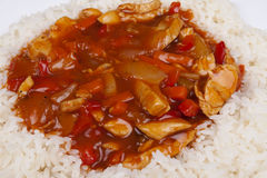 Süßes und saures Huhn mit Reis. Stockfotografie