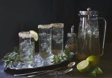 Nahaufnahmefoto des Eistees mit Eis und Rohrzucker mit Kalkscheiben auf dem Weinlesehintergrund Selektiver Fokus Stockbild