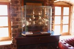 Nahaufnahmefoto des hölzernen Schiffsmodells am Museum Lizenzfreie Stockfotos