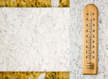 Nahaufnahmefoto des Haushaltsalkoholthermometers, der Temperatur in den Grad Celsius zeigt Lizenzfreies Stockbild