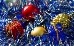 Nahaufnahmefoto für Grußkarte des neuen Jahres, Saisonfeiertagsfahnenschablone Lizenzfreie Stockfotos
