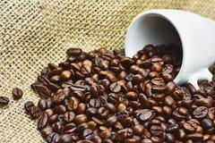 Nahaufnahmefoto von Körnern des gebratenen schwarzen Kaffees mit weißem porc lizenzfreie stockfotografie