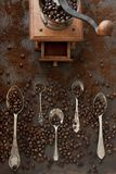 Nahaufnahmefoto von Metalllöffeln mit AromaKaffeebohnen und coffe Stockfotografie