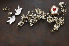 Nahaufnahmefoto von schönem weißem blühendem Cherry Tree verzweigt sich mit zwei hölzernen Vögeln und Vogelhaus Stockbilder