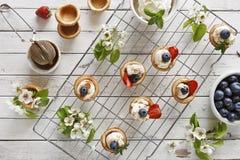 Nahaufnahmefoto von selbst gemachten Kuchen mit mascarpone Käse, Zimt, Erdbeeren, Blaubeeren und schönem wildem Apfelbaum floweri Lizenzfreies Stockfoto