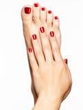 Nahaufnahmefoto weiblichen Füße mit schöner roter Pediküre Stockfoto