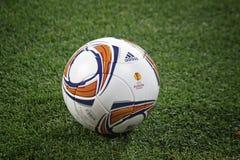 Nahaufnahmefußballkugel auf dem Gras Lizenzfreie Stockfotos