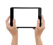 Nahaufnahmehand, die Tablette lokalisierten weißen Hintergrund hält stockfotos