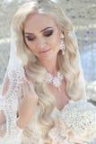 Nahaufnahmehochzeitsporträt der herrlichen Braut Schönes blondes woma Lizenzfreie Stockfotos