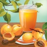 Nahaufnahmeillustration der frischen Aprikosenfrucht und des Aprikosensafts Stockfoto