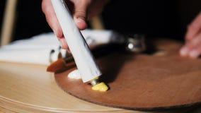 Nahaufnahmekünstler verdrängt gelbe Farbe vom Rohr auf Palette stock video