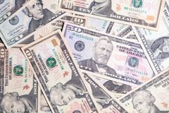Nahaufnahmelos amerikanischen Dollarbanknotenpräsidenten Konzeptsprung, Fall, Rate, Geldumtausch, Schuld, Gewinn, Verlust, Sankti stockbilder
